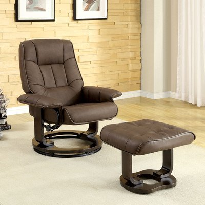 Leatherette Swivel Recliner Chair And Ottoman front-875935