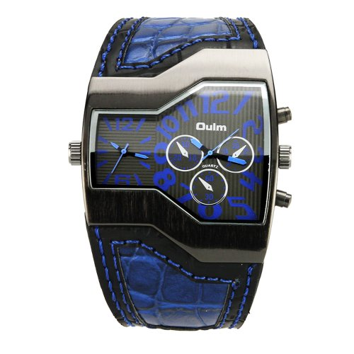 Muchbuy Fashion Oulm Russian Army Military Dual Time Mens Sports Wrist Watch Blue
