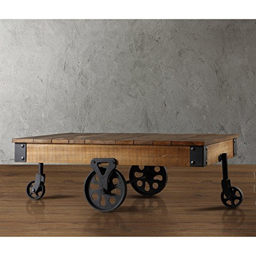 Homelegance Factory Coffee Table Cart In Rustic Brown