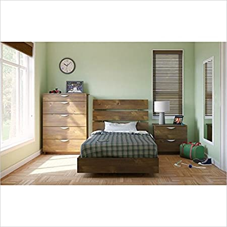 Nexera Nocce 3 Piece Twin Bedroom Set in Truffle with Chest
