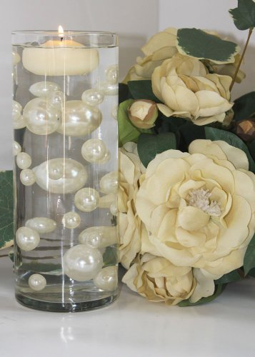 Unique Ivory & White Pearl Beads Including Clear JellyBeadZ® gel. Great for Wedding Centerpieces and Decorations