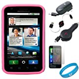 (Grey & Hot Pink) Vertex Duo Protector Case with Screen Protector for Motorola Atrix 4G (MB860) AT&T Android Smartphone + Black Retractable Car Charger + Black Retractable Home Charger + Black Retractable micro USB Data Cable + SumacLife TM Wisdom*Courage Wristband