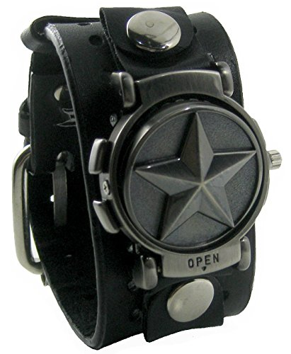 Beyond-Mens-Round-Nautica-Star-Flip-Rotate-Watch-Black-Leather-Wide-Cuff-Band