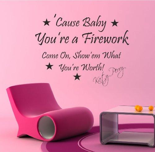 Katy Perry-Decorazione da parete, motivo: fuochi d'artificio, 73 cm x 56 cm x TR42, si prega di indicare dall'acquisto, altrimenti verrà spedito, colore: nero