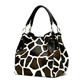 New XL Black Giraffe Designer Inspired Animal Print Handbag Purse Bag Tote