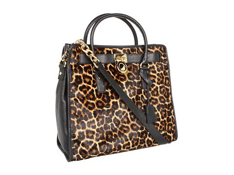 Michael Michael Kors Hamilton North/south Tote Haircalf Cheeta Natural