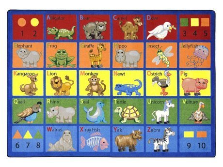 "Joy Carpets Kid Essentials Early Childhood Animal Phonics Rug, Multicolored, 10'9"" x 13'2"""