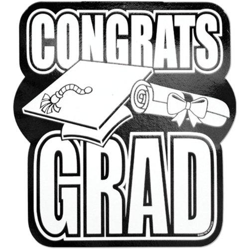 Printed Foil Congrats Grad Cutout (black) Party Accessory  (1 count) - 1