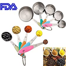 buy Accmor 10-Piece Stainless Steel Measuring Spoons/Cups Set - Premium Stackable Tablespoons Measuring Set For Dry And Liquid Ingredients - Silicone Handle, Prefect For Cooking Or Baking