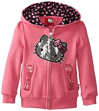 Hello Kitty Little Girls' Bow Pocket Hoodie, Carmine Rose, 2T