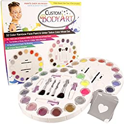 Custom Body Art 16 Color Rainbow Wheel Glitter Tattoo Set & 16 Color Face Painting Combo Set ; 30 Variety Themed Stencils, 2 Glitter Brushes & 4 Body Glues, 12 Foam Face Paint Applicator Sponges & 4 Foam Brushes