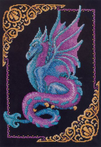 Janlynn Cross Stitch Kit, 15-Inch by 11-Inch, Mythical Dragon Picture