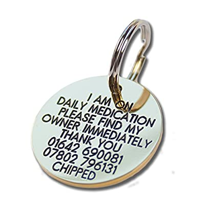 Deeply engraved solid brass 33mm circular pet tag