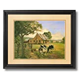 Holstein Cows And House Country Home Decor Wall Picture Black Framed Art Print