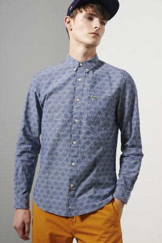 L!ve Long Sleeve Jacquard Trellis Pattern Woven Shirt
