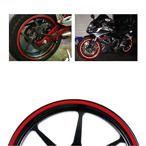 MotorBRO Red Reflective Motorcycle Car Rim Tape Wheel Stripe Decal USA 16