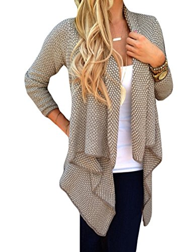 Halife Women's Long Sleeve Draped Knitted Cardigan Sweaters Open Front (M, Khaki)