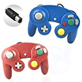Reiso 2 Packs NGC Controllers Classic Wired Controller for Wii Gamecube(Red and Blue) (Color: Red and Blue)