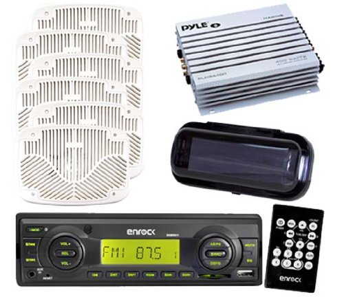 Boat Radio Enrock New 2012 W/Remote & 3 Pairs Of 6X9 White Speakers W/Cover &Amp