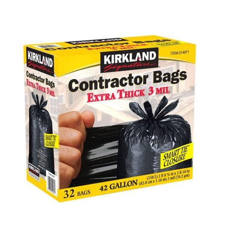 Kirkland Signature Contractor Bags Smart Tie, 3 ml- 42 gal - 32 ct