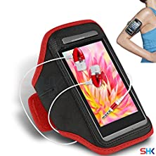 buy Lava Iris 405+ Red + Earphone Adjustable Armband Sport Gym Bike Cycle Running Jogging Sports Case Cover Holder Pouch (Bb) With Premium Quality In Ear Buds Stereo Hands Free Headphones Headset With Built In Microphone Mic And On-Off By Shukan®