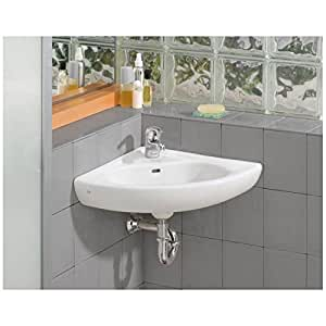 Cheviot 1350 Wh 1 White Wall Mount Corner Sink With Single