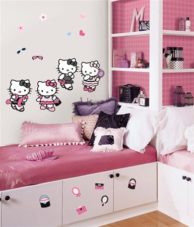 Reusable Decorative Hello Kitty Dress up Wall Appliques Stickers for Kids
