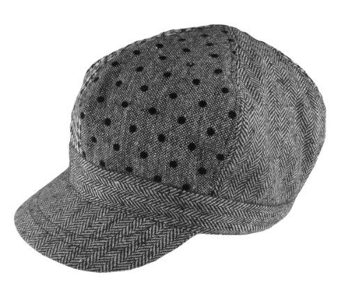 Capelli New York Alternating Panel Multi Material Newsboy Hat