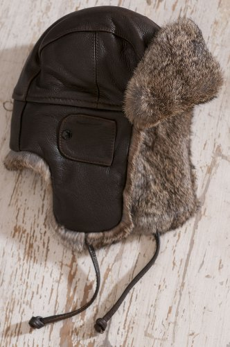 Vintage Leather Aviator Hat With Rabbit Fur Trim, Brown/Natural, Size Xlarge (7 1/2 - 7 3/4)