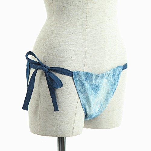 (ASAFUKU) 麻福 ふんどしパンツ 女性用 ヘンプ( 麻 ) 100% 麻ふんどし 藍ムラ染め フリーサイズ