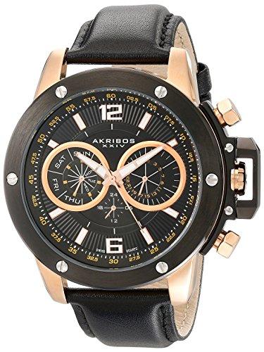 Akribos-XXIV-Mens-AKR469RG-Conqueror-Multifunction-Stainless-Steel-Swiss-Quartz-Strap-Watch