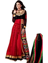 Exotic India Jet-Black And Red Designer Anarkali Suit With Embroidered P - Black