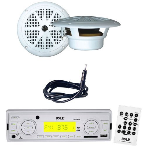 Pyle Marine Radio Receiver, Speaker and Cable Package - PLMR88W AM/FM-MPX IN-Dash Marine MP3 Player/USB, MMC & SD Memory Card Function - PLMR61W 120 Watts 6.5'' Dual Cone White Marine Waterproof Speakers (Pair) - PLMRNT1 22