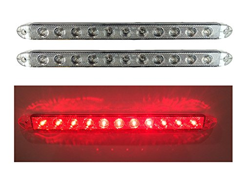 "2 New 16"" Clear Red Led Slim Low Profile Surface Mount Stop Turn Tail Lights Trailer Truck Elk-116211Crl2"