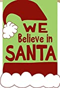 We Believe in Santa Applique Garden Flag Christmas Holiday Embroidered 12.5