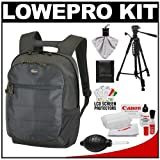 Lowepro CompuDay Photo 250 Digital SLR Camera Backpack Case (Black) + Photo/Video Tripod + Canon Cleaning Kit for Canon EOS 7D, 5D Mark II III, 60D, Rebel T3, T3i, T2i Digital SLR Cameras