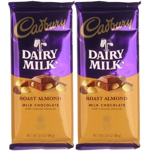 Cadbury Premium Milk Chocolate With Roasted Almonds Bar, 3.5-Ounce
