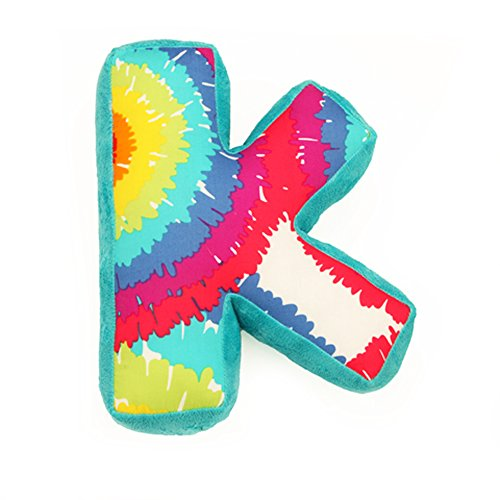 "One Grace Place Terrific Tie Dye Letter Pillow ""K"", Aqua Blue, Royal Blue, Purple, Yellow, Green, Orange, Pink, Red And White front-163688"