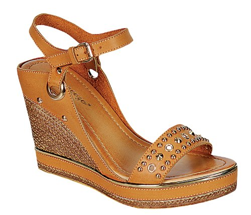Reneeze Calm-05 Women'S Studded Wedge Sandals, Color: Camel, Size: 6 back-904457
