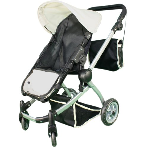 Mommy & Me Deluxe Babyboo Doll Stroller With Swiveling Wheels (Color Off White & Black) With Free Carriage Bag (Multi Function View All Photos) - 9651C-Offw front-45218