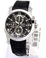 Premier Chronograph Stainless Steel Case Leather Strap Alarm Black Tone Dial