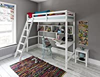 Cabin Bed High Sleeeper with Desk in WHITE ,New york 2'6 Loft Bed