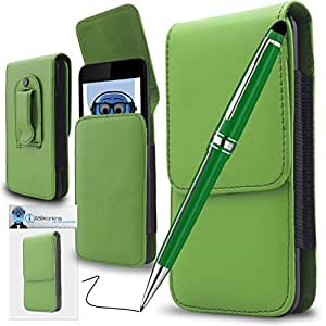 iTALKonline Huawei Ascend G330D U8825D Green PREMIUM PU Leather Vertical Executive Side Pouch Case Cover Holster with Belt Loop Clip and Magnetic Closure and PRO Captive Touch Tip Stylus Pen with Rubber Tip with Roller Ball Pen