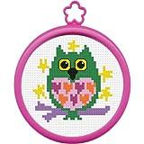 "My 1st Stitch Owl Mini Counted Cross Stitch Kit-3"" Round"