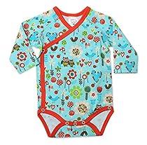 Zutano Baby-Girls Infant Penny Lane Long Sleeve Body Wrap, Aqua, 12 Months