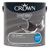 Crown Breatheasy Paint - City Break (Grey) - Matt Emulsion - 2.5L