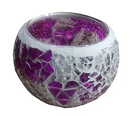 Georgeous Decortaive Candle Holder Purple Mosaic Glass Tea Light Holder