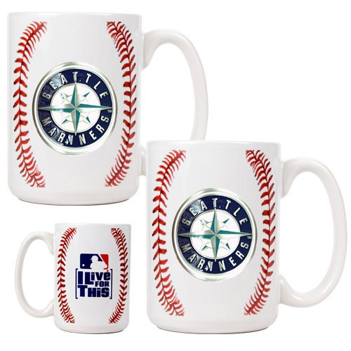 MLB Seattle Mariners Two Piece Ceramic Gameball Mug Set - Primary Logo at Amazon.com