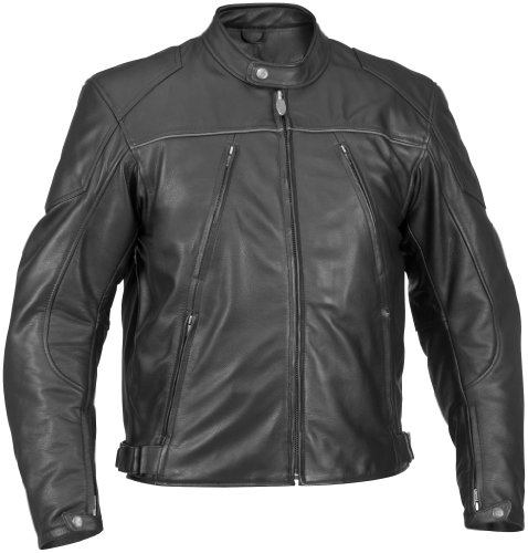 River Road Mens Mesa Classic Leather Motorcycle Jacket Black 50