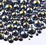 LOVEKITTY TM 600 Pcs AB Black Mixed Sizes Flatback Pearl Cabochon